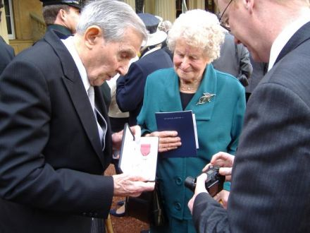 Lion David Saunders with Enid and his MBE, 2007