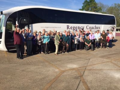 A coachful of Senior Citizens ready for the Bluebell Railway!