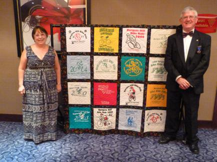 Terri and Malcolm Stephens with the Burgess Hill Bike Ride Quilt